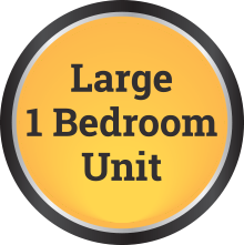 large 1 bedroom unit